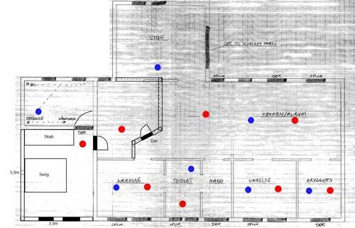 Placering af indblæs i tilbygning (med tegning) -