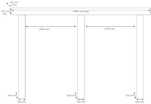 Her er en skitse med mål af carporten set fra siden af: