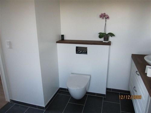 væghængt toilet i hjørne