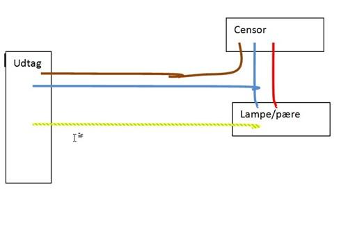 Tilslusning af Udendørslampe med sensor - Lav-det-selv.dk