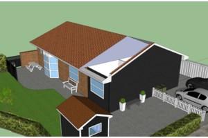Tilbygning i træ - overgang fra mursten til beklædning -
